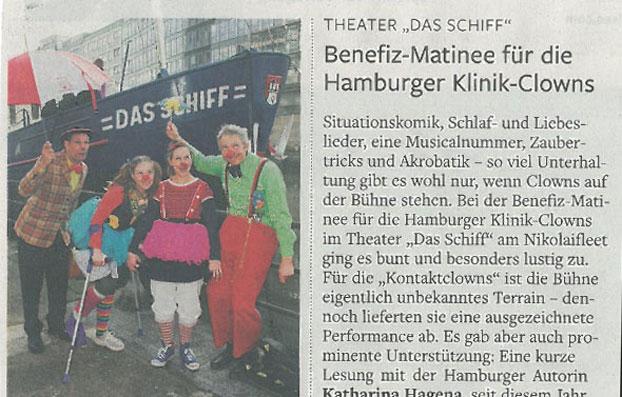 """Benefiz-Matinee für die Hamburger Klinik-Clowns im Theater """"Das Schiff"""""""